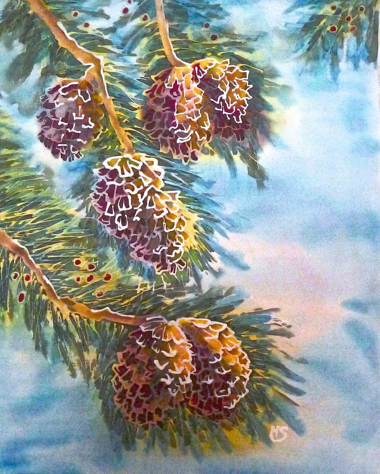 'Pine', original silk painting