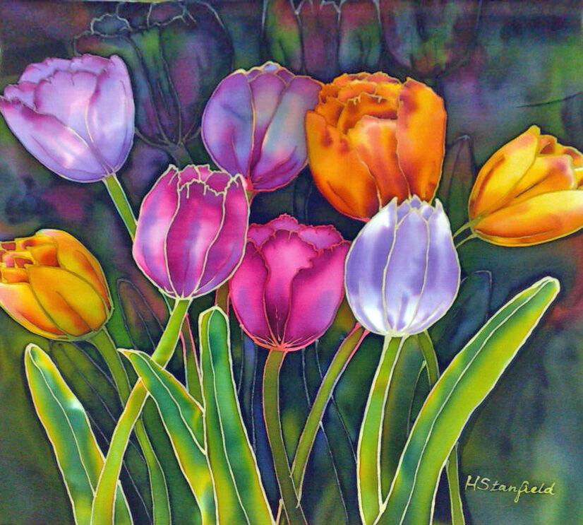 'Tulips'. Original silk painting
