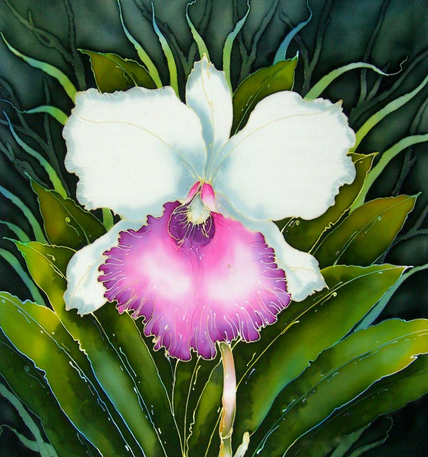 'White and Pink Orchid'. Original silk painting