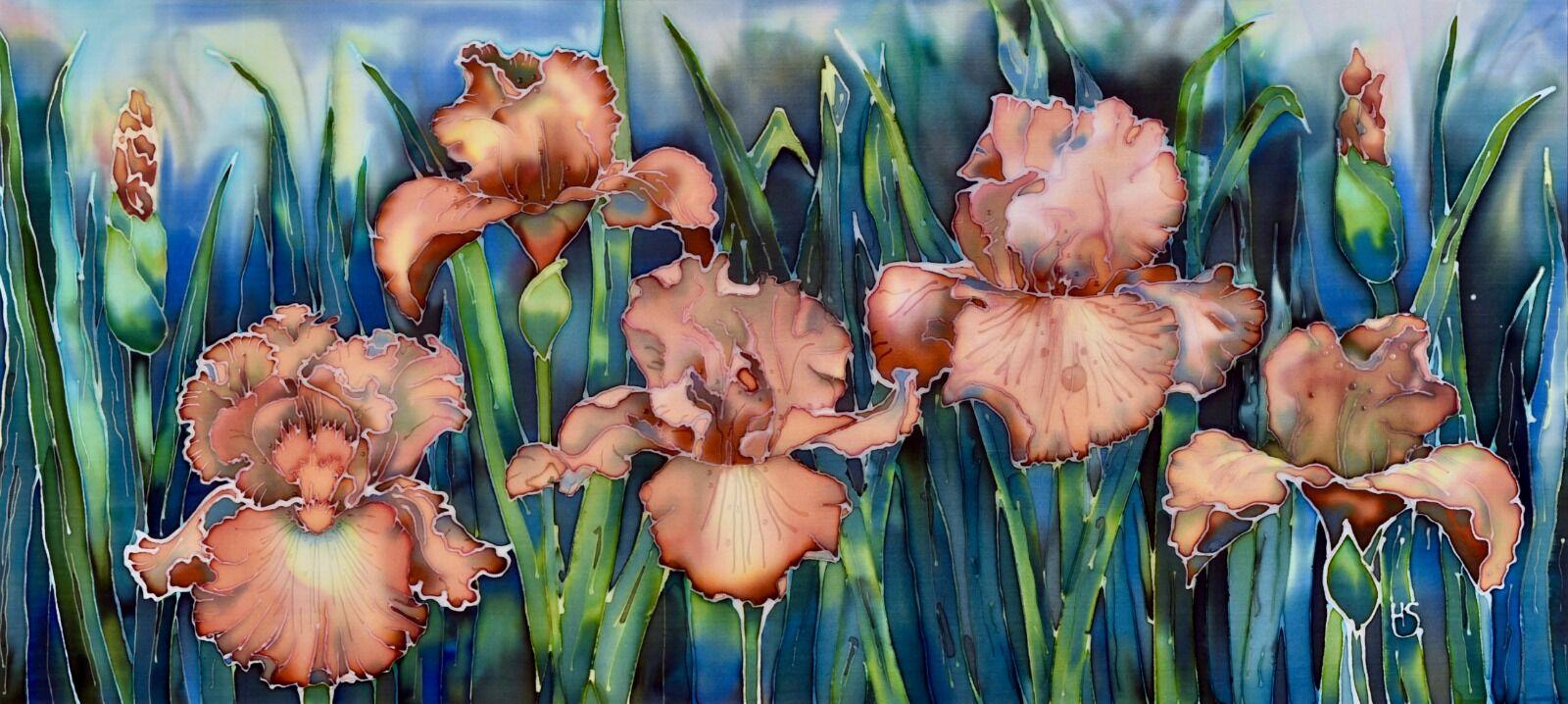 'Bearded Iris'. Original silk painting, mounted.