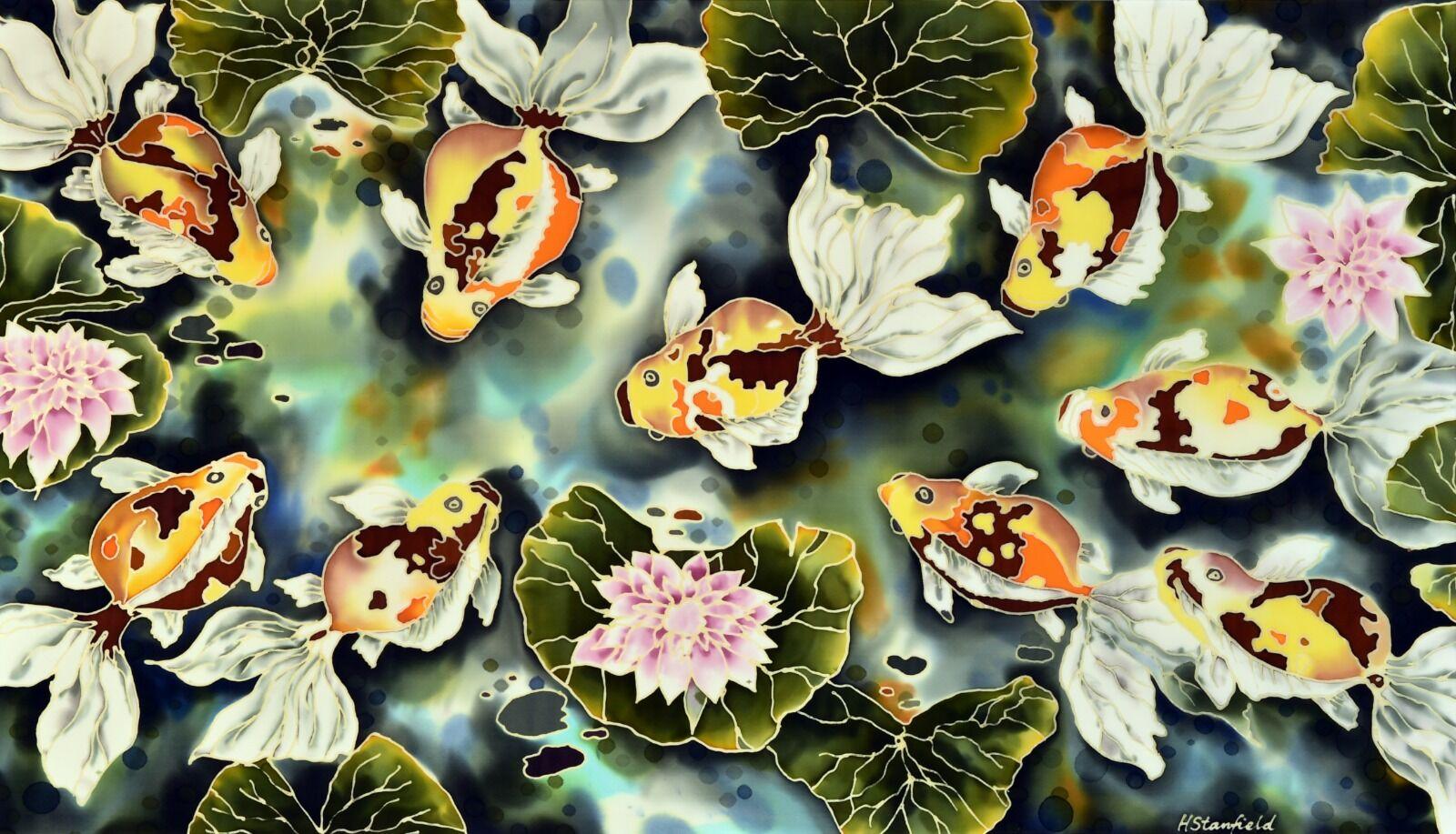 'Pond'. Original silk painting