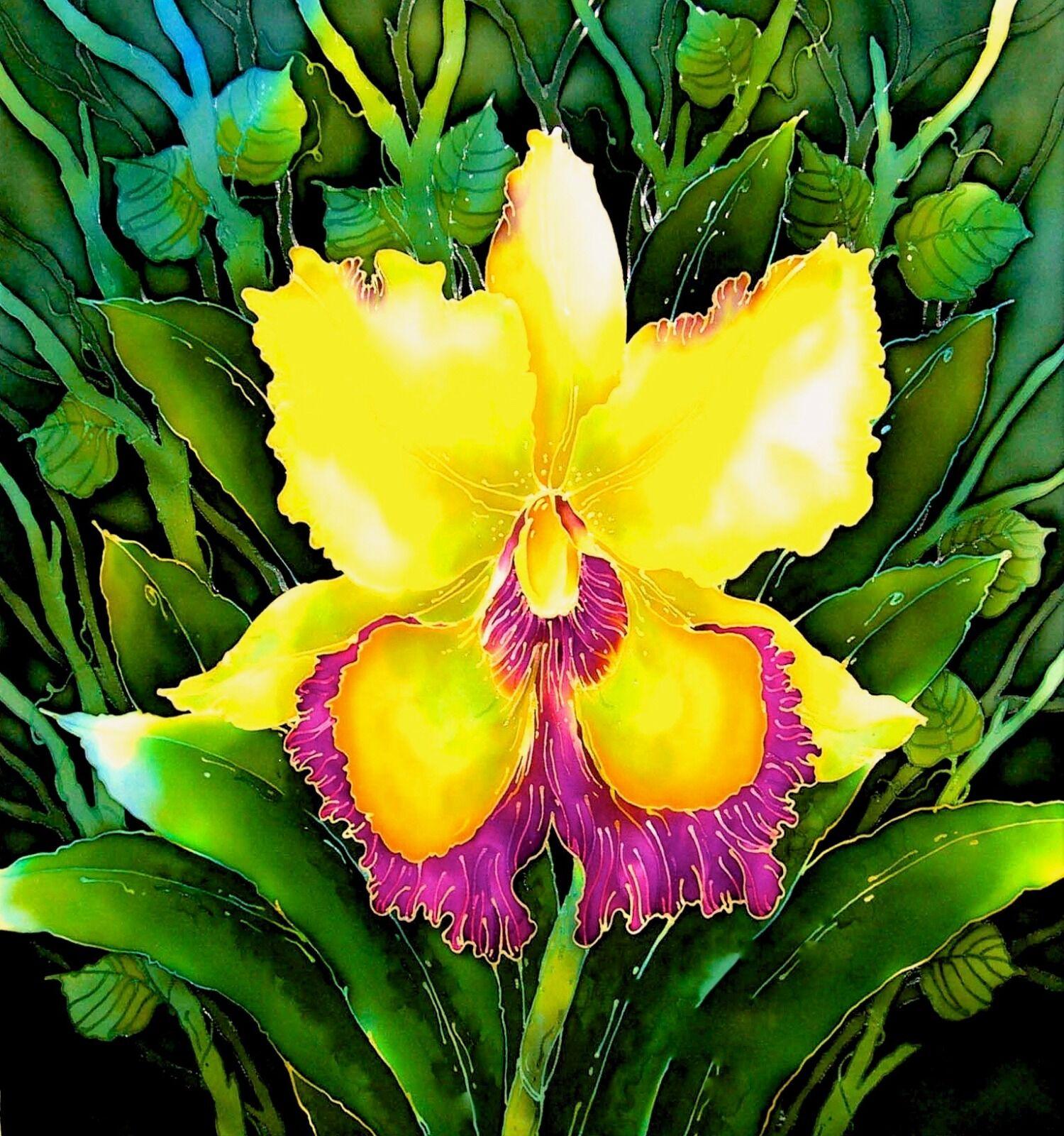 'Yellow Orchid'. Original silk painting