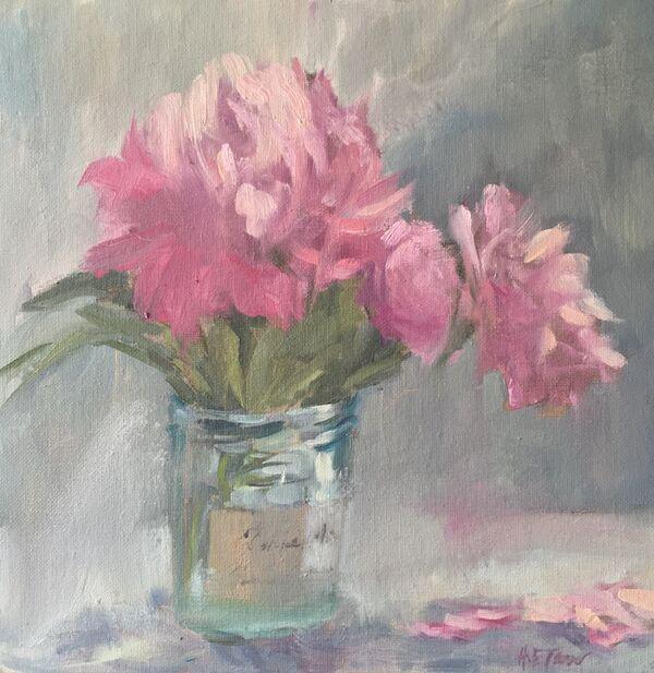 A Jar of Pale Pink Peonies