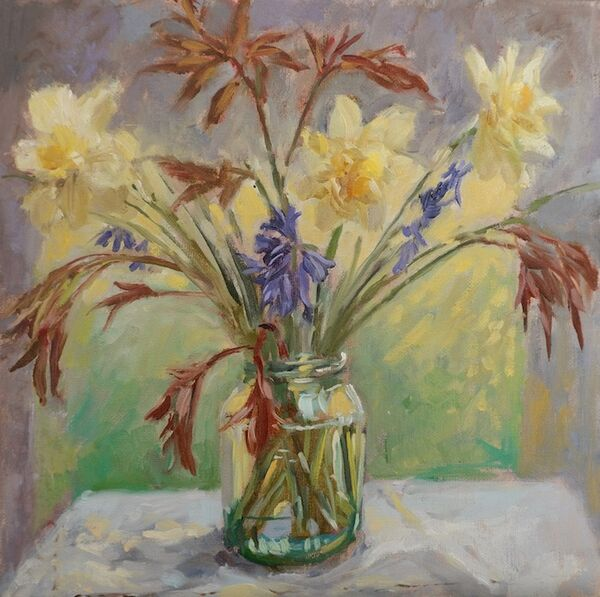 Daffodils, Bluebells and Peony Leaves