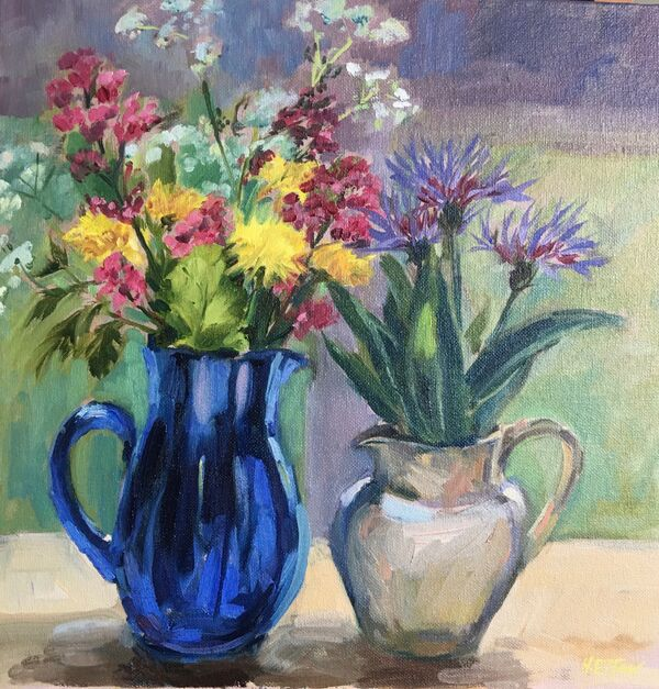 Blue Glass and Spring Flowers