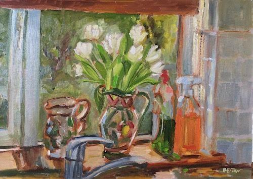 White Tulips on the Kitchen Windowsill