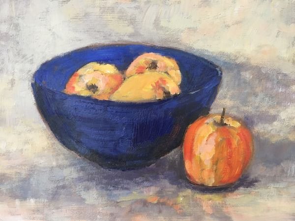 Blue Bowl with Apples