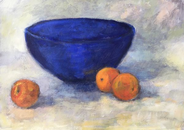 Blue Bowl with Apricots