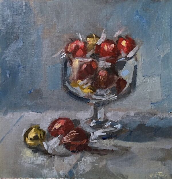 Still life with Glass Bowl and Chocolates
