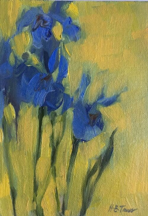 Irises on Yellow