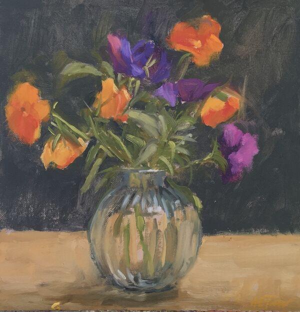 Orange and Mauve Pansies in a Bud Vase