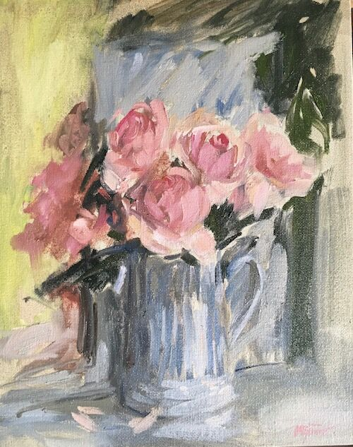 Pink Roses in a Striped Tankard