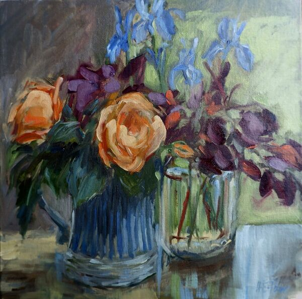 Roses, Irises and Smoke Bush