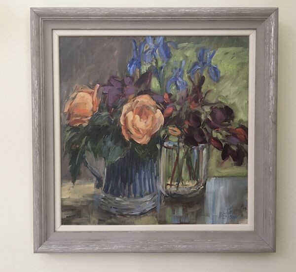 Roses, Irises and Smoke Bush