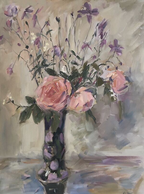 Roses and Anemones in Betty's Vase