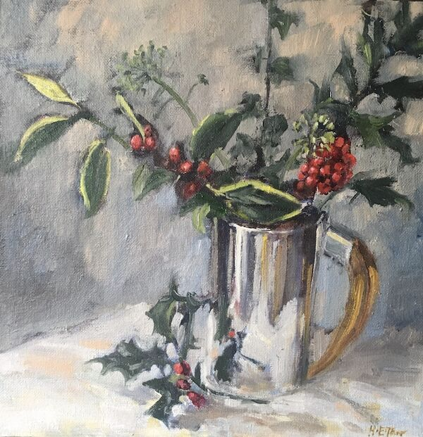 Silver Tankard with Holly