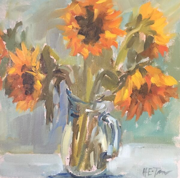 Sunflowers in a Glass Jug