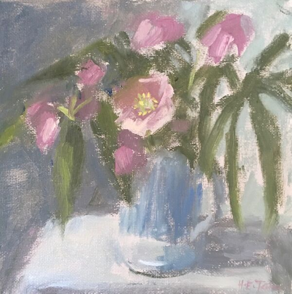 Small Study of Hellebores in a Blue Mug