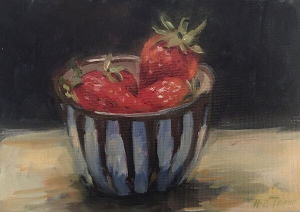 oil painting of a bowl of strawberries
