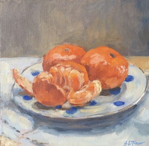 Tangerines on a Spotted Plate