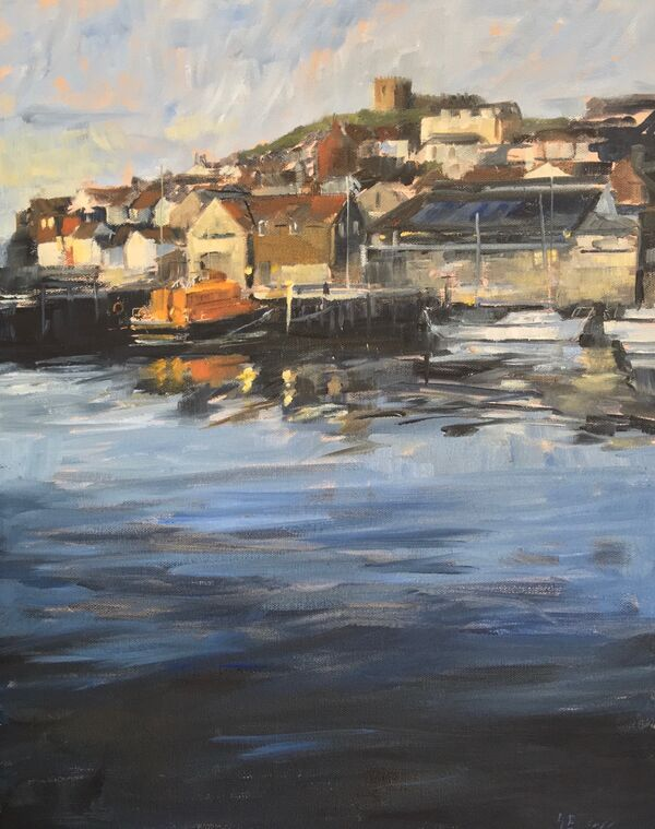 Oil painting of Whitby harbour and lifeboat