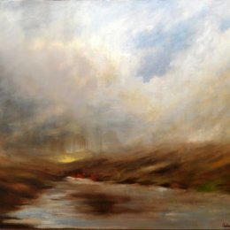 149-Rain on the River Swale 30x24in oil