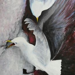 481_Kittiwakes_on_Bempton_Cliffs_30x24in_Acrylic