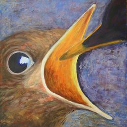 484_Baby_Blackbird_being_fed_24x24in_Acrylic