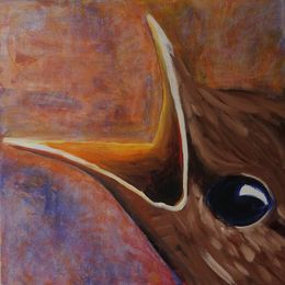 485_Baby_Blackbird_begging_for_food_24x24in_Acrylic