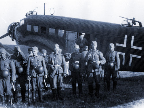 Troops about to embark a Junkers 52