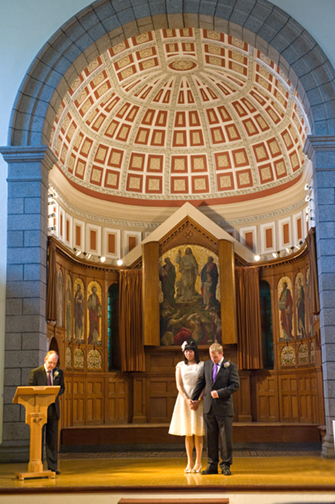 The couple are blessed in St. James