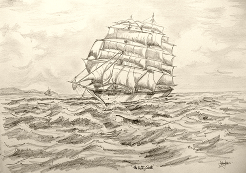 The Cutty Sark, Pencil drawing