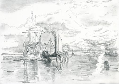 Pencil Drawing, Fighting Temeraire