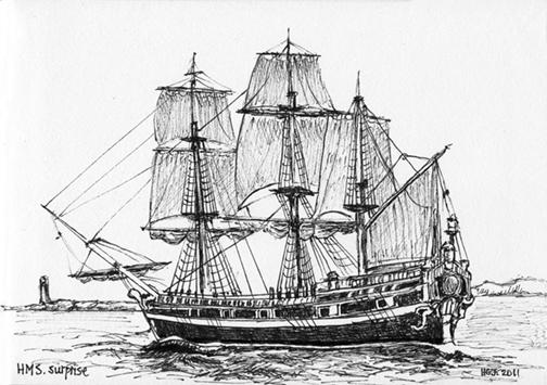 Pen & Ink, HMS Surprise.