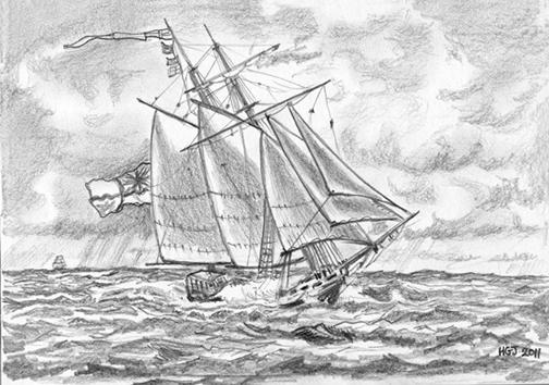 HMS Pickle under full sail.