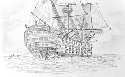 Pencil drawing HMS Victory.