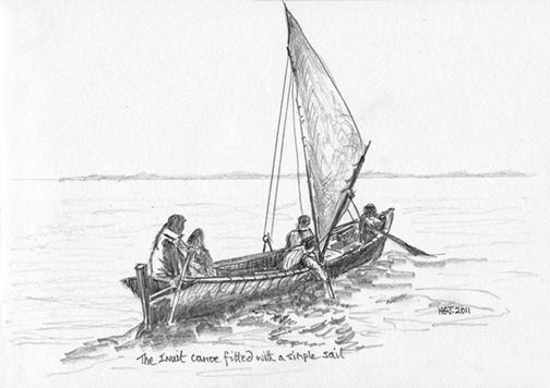 Inuit Canoe with sail