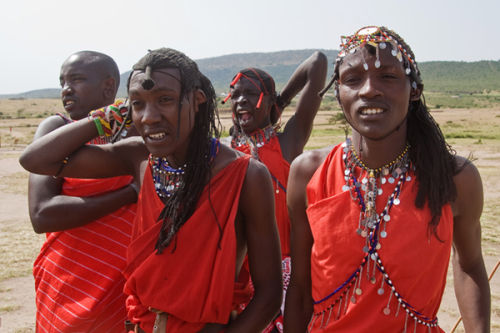 Dancing Masai warriors