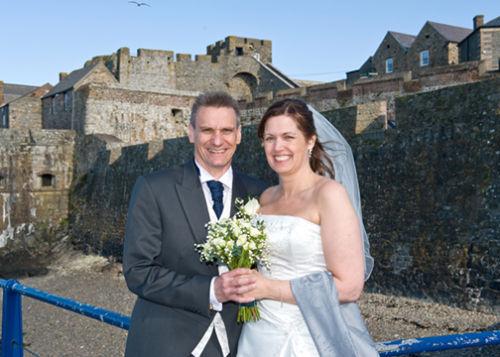 Lynn & Declon outside Castle Cornet