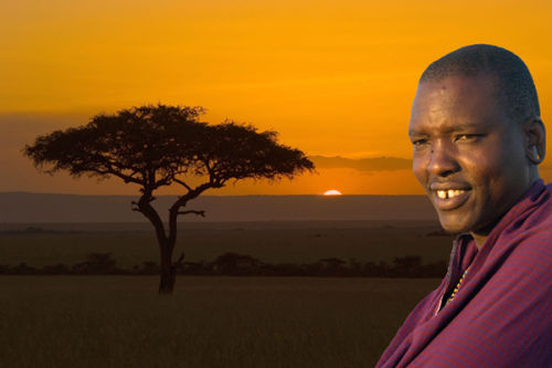Masai Guide at Sunset