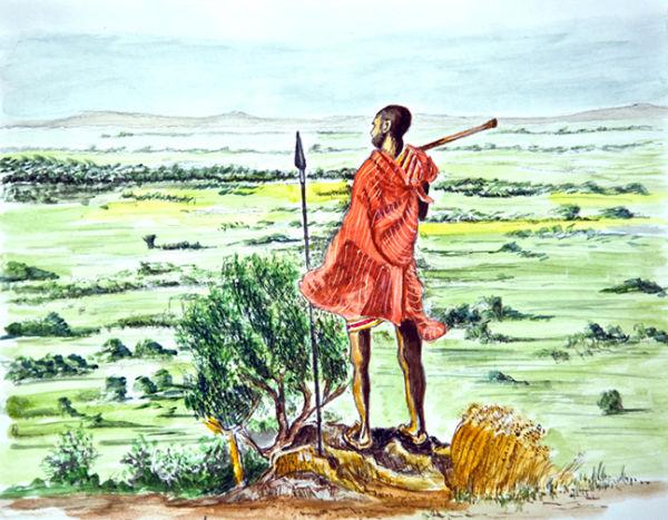 Masai Warrior Overlooks his land
