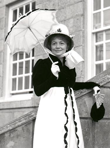 Olivia De Havilland, at Sausmarez Manor, Guernsey.