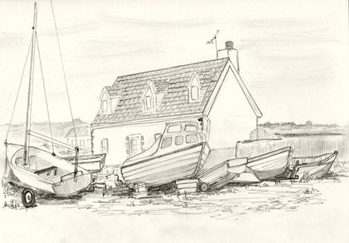 Parked Boats and Cottage, L'Eree