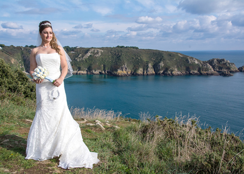 A pictorial wedding portrait of the bride.