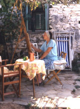 Hilary painting in Greece