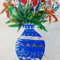 Blue and Gold Vase 76 x 56 cms