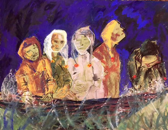 Boat Journey (Ship of Fools) 76 x 56 cms 2018