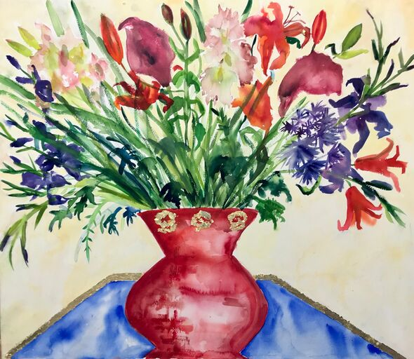 Calla Lilies in a red/ Gold Vase