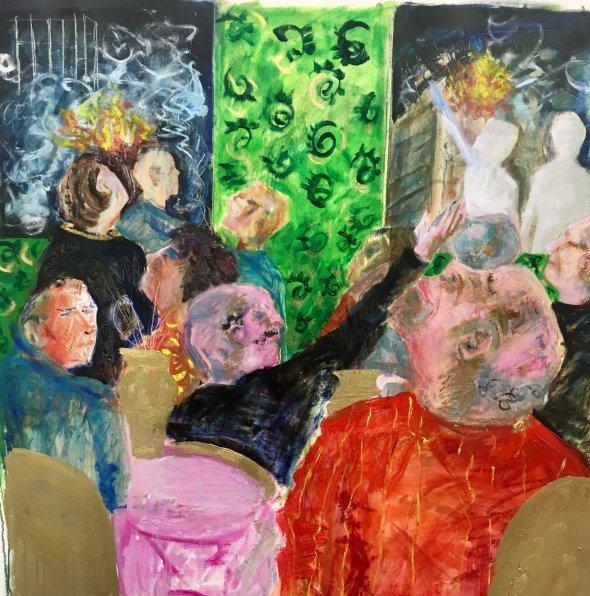 Out of the window  oil  98 x 93 cms