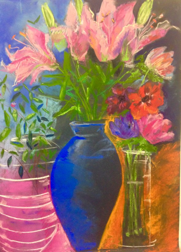 Lilies in blue jug